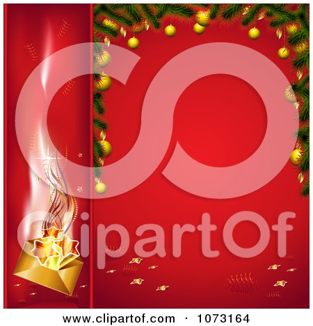Clipart 3d Christmas Banner And Frame With Red Backgrounds - Royalty Free Vector Illustration by MilsiArt