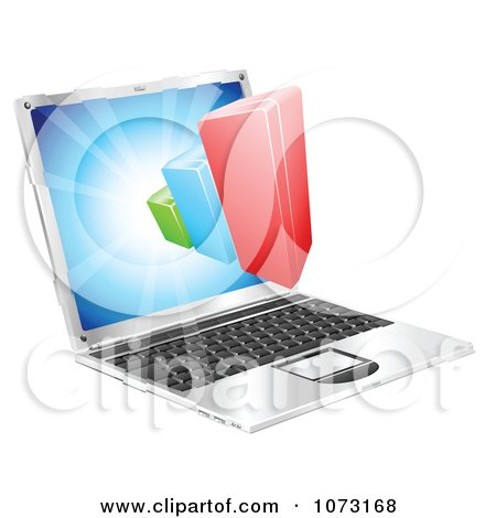 Clipart 3d Bar Graph Emerging From A Laptop Computer - Royalty Free Vector Illustration by AtStockIllustration