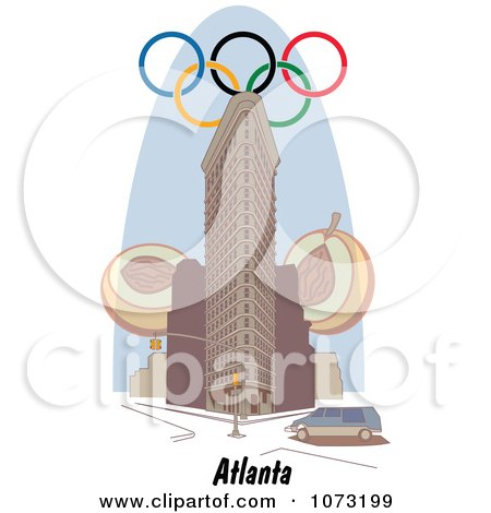 Clipart Olympic Rings Over A Building In Atlanta Georgia - Royalty Free Vector Illustration by Andy Nortnik