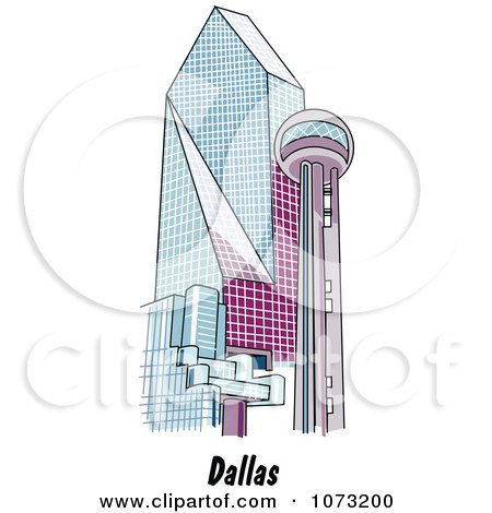 Clipart The Reunion Tower And Fountain Place In Dallas Texas - Royalty Free Vector Illustration by Andy Nortnik