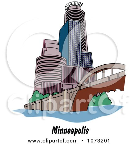 Clipart Bridge And Skyscrapers In The City Of Minneapolis Minnesota - Royalty Free Vector Illustration by Andy Nortnik