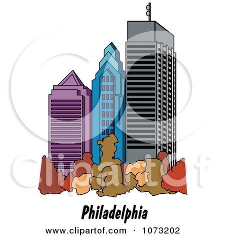 Clipart Skyscrapers In The City Of Philadelphia Pennsylvania - Royalty Free Vector Illustration by Andy Nortnik