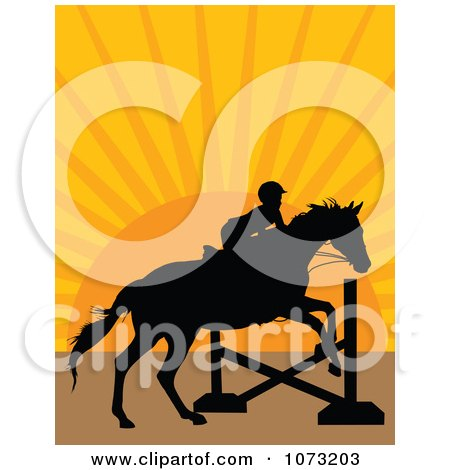 Clipart Silhouetted Equestrian And Horse Leaping A Hurdle At Sunset - Royalty Free Vector Illustration by Maria Bell