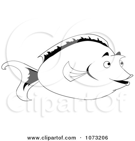 Clipart Black And White Unicorn Tang Fish - Royalty Free Vector Illustration by erikalchan