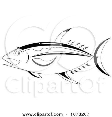 Clipart Black And White Ahi Tuna Fish - Royalty Free Vector Illustration by erikalchan