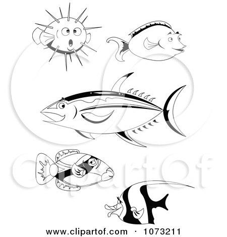Clipart Black And White Unicorn Tang Moorish Idol And Puffer Ahi Tuna Hawaiian Trigger Fish - Royalty Free Vector Illustration by erikalchan