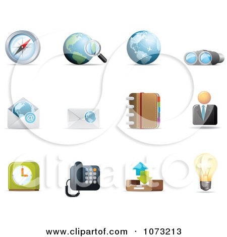 Clipart 3d Web Browser Communication Icon Design Elements 1 - Royalty Free Vector Illustration by Qiun