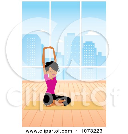 Clipart Fit Black Woman In A Studio Doing A Seated Yoga Pose - Royalty Free Vector Illustration by Monica