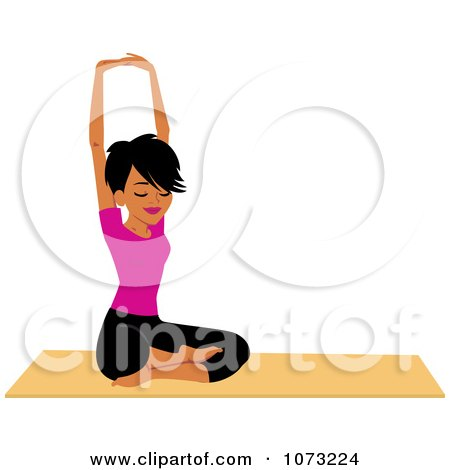 Clipart Fit Black Woman Doing A Seated Yoga Pose - Royalty Free Vector Illustration by Monica