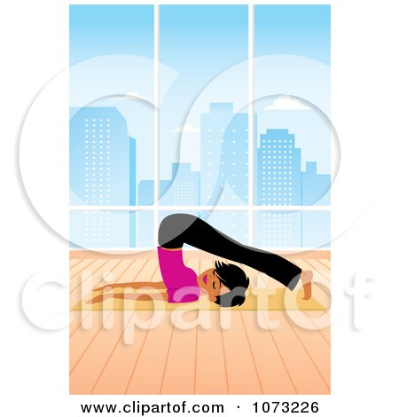 Clipart Fit Black Woman In A Studio Doing A Yoga Plough Pose - Royalty Free Vector Illustration by Monica