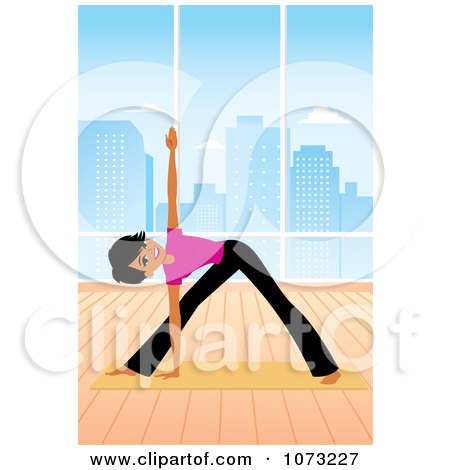 Clipart Fit Black Woman Doing Yoga Triangle Pose In A Studio - Royalty Free Vector Illustration by Monica
