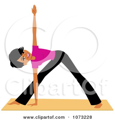 Clipart Fit Black Woman Doing Yoga Triangle Pose - Royalty Free Vector Illustration by Monica