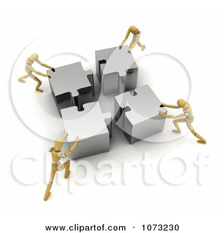 Clipart 3d Wood Mannequins Assembling A Silver Puzzle - Royalty Free CGI Illustration by stockillustrations
