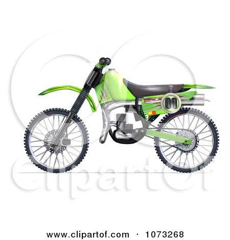 Clipart 3d Green Motocross Dirt Bike 2 - Royalty Free CGI Illustration by Ralf61