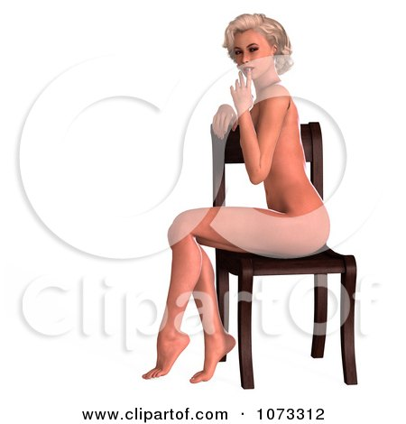 3d Sexy Blond Pinup Woman In The Nude On A Chair 2 Posters, Art Prints