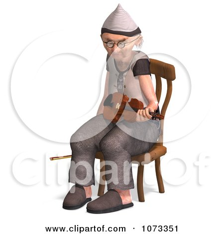 Clipart 3d Old Grandpa Senior Man Playing A Violin 6 - Royalty Free CGI Illustration by Ralf61