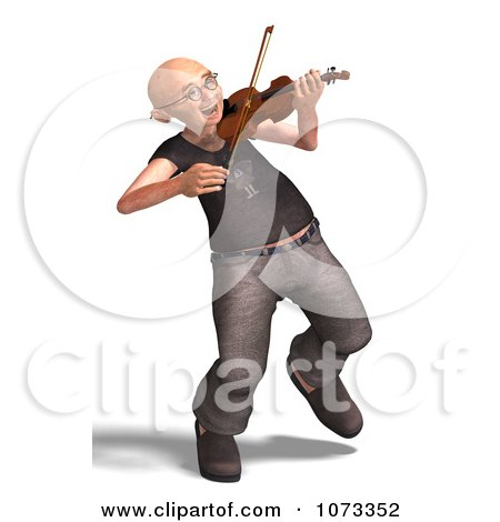 Clipart 3d Old Grandpa Senior Man Playing A Violin 7 - Royalty Free CGI Illustration by Ralf61