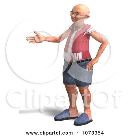 3d Old Grandpa Senior Man Holding A Hand Out Posters, Art Prints