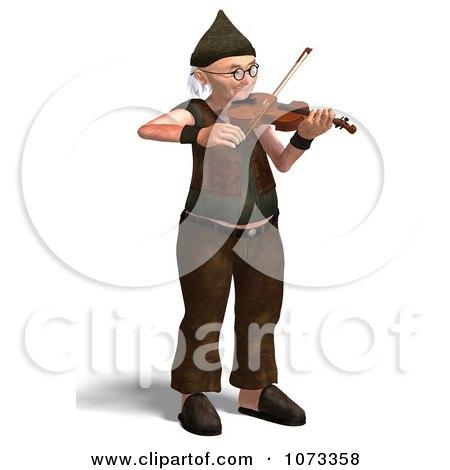Clipart 3d Old Grandpa Senior Man Playing A Violin 2 - Royalty Free CGI Illustration by Ralf61