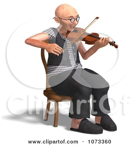 Clipart 3d Old Grandpa Senior Man Playing A Violin 3 - Royalty Free CGI Illustration by Ralf61