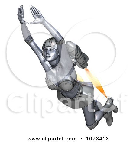 Clipart 3d Super Hero Woman Flying With A Jet Pack 6 - Royalty Free CGI Illustration by Ralf61