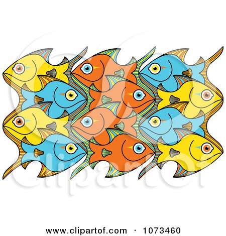 Clipart Puzzle Of Yellow Blue And Orange Schooling Fish - Royalty Free Vector Illustration by Zooco