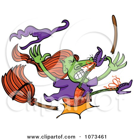Clipart Wicked Halloween Witch Crashing And Breaking Her Broom - Royalty Free Vector Illustration by Zooco