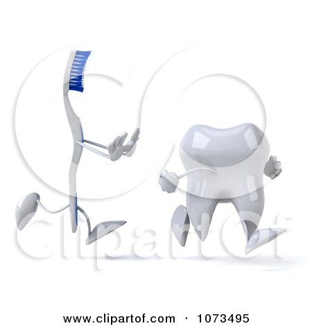 Clipart 3d Tooth Brush Chasing A Tooth - Royalty Free CGI Illustration by Julos