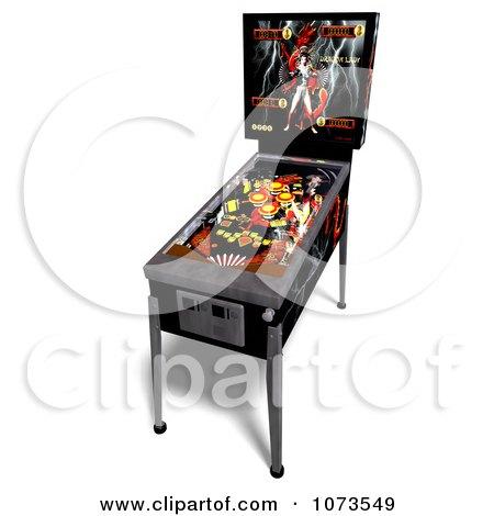 Clipart 3d Black Pinball Arcade Machine 3 - Royalty Free CGI Illustration by Ralf61