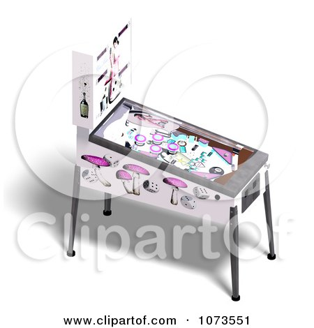 Clipart 3d White Pinball Arcade Game Machine 1 - Royalty Free CGI Illustration by Ralf61