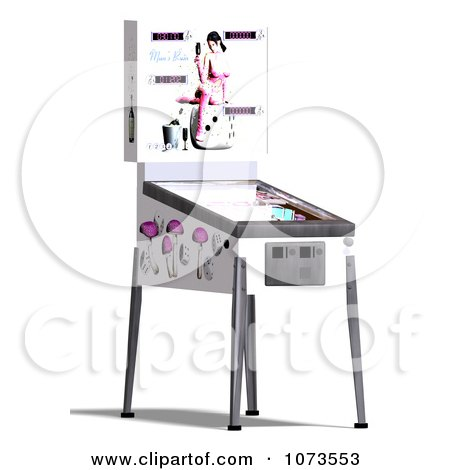 Clipart 3d White Pinball Arcade Game Machine 3 - Royalty Free CGI Illustration by Ralf61