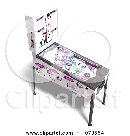 Clipart 3d White Pinball Arcade Game Machine 4 - Royalty Free CGI Illustration by Ralf61