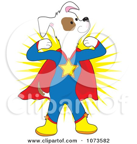 Clipart Strong Super Dog Flexing - Royalty Free Vector Illustration by Maria Bell