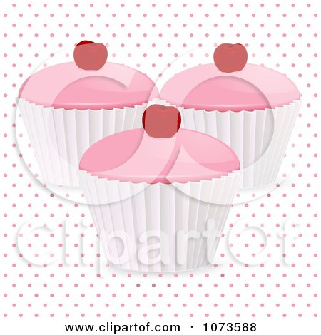 Clipart 3d Cherry Cupcakes Over Polka Dots - Royalty Free Vector Illustration by elaineitalia