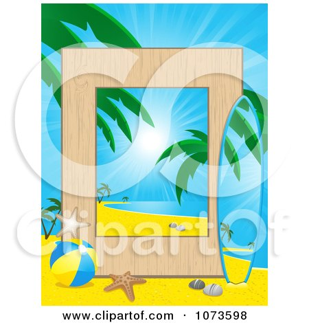 Royalty-Free Vector Clip Art Illustration of a Tropical Beach And ...