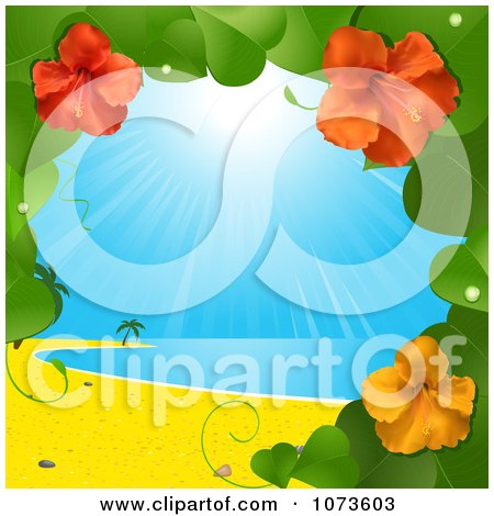 Clipart 3d Hibiscus Flower Vine And Tropical Beach - Royalty Free Vector Illustration by elaineitalia