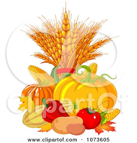 Clipart Autumn Harvest Vegetables And Leaves - Royalty Free Vector Illustration by Pushkin