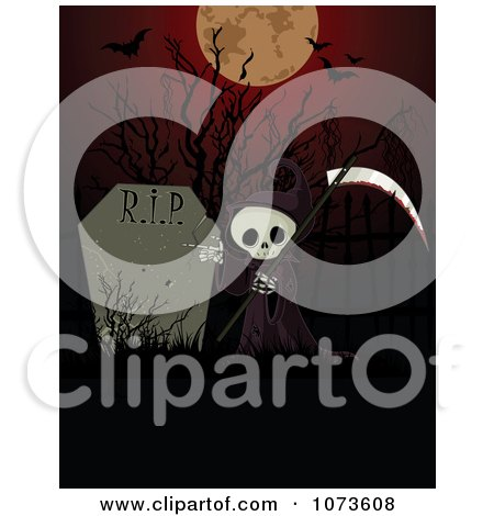 Clipart Halloween Grim Reaper And Tombstone Under A Full Moon And Bats - Royalty Free Vector Illustration by Pushkin