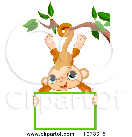 Clipart Cute Monkey Hanging From A Tree With A Sign - Royalty Free Vector Illustration by Pushkin