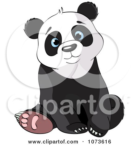 Clipart Cute Sad Panda Bear Sitting - Royalty Free Vector Illustration by Pushkin