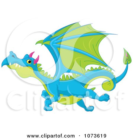 Clipart Blue And Green Flying Dragon - Royalty Free Vector Illustration by Pushkin