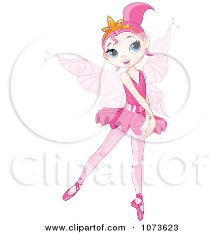 Clipart Pink Ballerina Fairy Girl On Her Toes - Royalty Free Vector Illustration by Pushkin