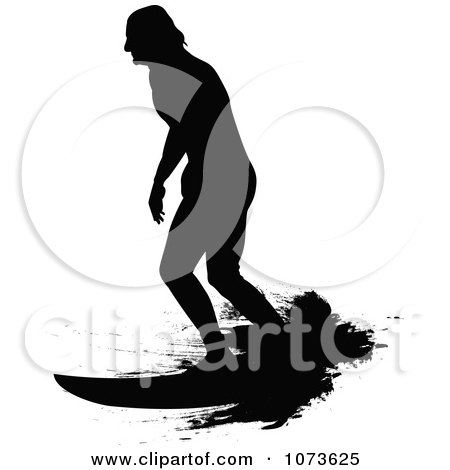 Clipart Black And White Grungy Surfer Dude Silhouette 6 - Royalty Free Vector Illustration by Paulo Resende