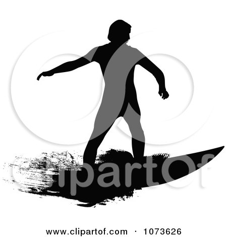 Clipart Black And White Grungy Surfer Dude Silhouette 7 - Royalty Free Vector Illustration by Paulo Resende