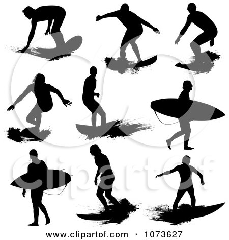 Clipart Black And White Grungy Surfer Dude Silhouettes - Royalty Free Vector Illustration by Paulo Resende