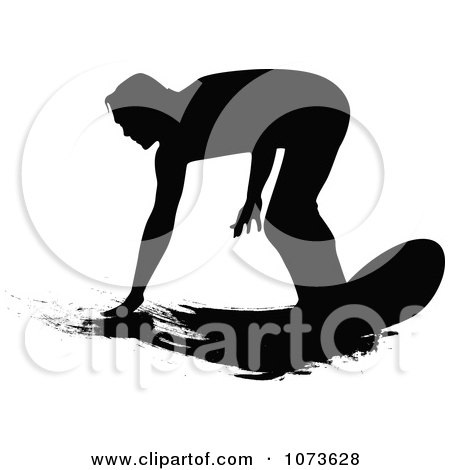 Clipart Black And White Grungy Surfer Dude Silhouette 1 - Royalty Free Vector Illustration by Paulo Resende