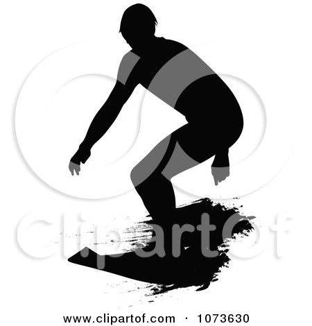 Clipart Black And White Grungy Surfer Dude Silhouette 3 - Royalty Free Vector Illustration by Paulo Resende