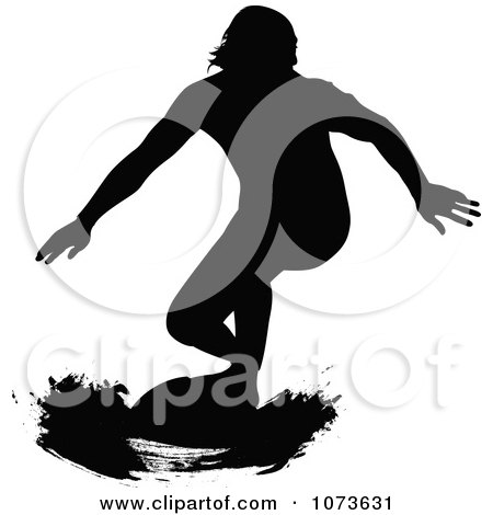 Clipart Black And White Grungy Surfer Dude Silhouette 4 - Royalty Free Vector Illustration by Paulo Resende