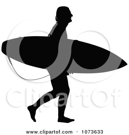 Clipart Black And White Surfer Dude Silhouette 1 - Royalty Free Vector Illustration by Paulo Resende