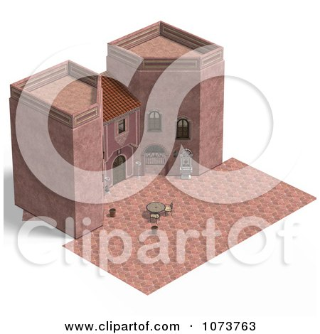 Clipart 3d Medieval Pink Palace And Patio 3 - Royalty Free CGI Illustration by Ralf61